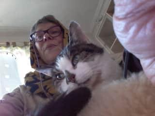 Myself Kathryn and my cat Puskin...