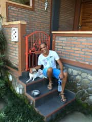 Luciën & Monchi, the Bali dog we took care of for 6 months.
