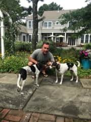 Bill getting ready for a walk with Bella and Max