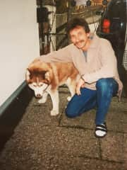 Christophe with his first Husky Nanuk brought from BC (Canada) himself (1983)