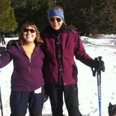 Cross-country skiing with my friend, Heidi
