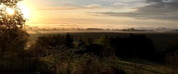 Sunny Dawn with Mist in the Valley