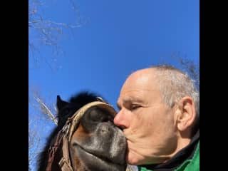 With Bruno, another one of my good horse friends, Langley April 2021.