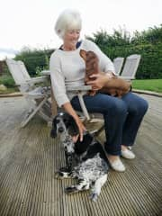 Jo with Max and Herbie on her lap.