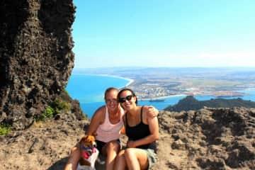 Milo My-Yo trekking with Serena & Aunty up Mt Manaia
