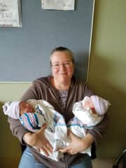 I am a grandmother of three, mother of four. These are my youngest grandchildren (twins!), born in 2017.