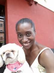 With my friend Venus' dog