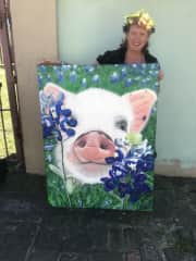 Me with my painting of Notorious P.I.G. Aka Piggy Smalls