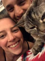 Mary and Adam with Smokey, our sweet 19 year old roomate