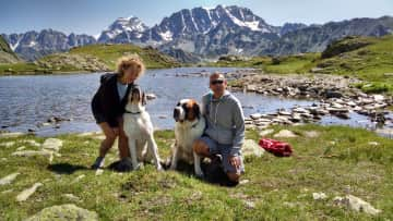 Leslie and Allen with friends at the Col du St. Bernard in Switzerland