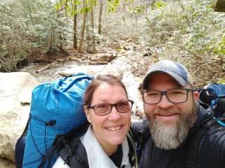 Terri and TJ backpacking