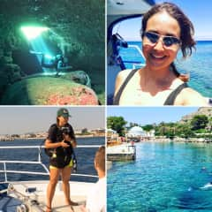 Here I am working as a Scuba Instructor in the summer in Rhodes, Greece. I do this in the summer time next to running my own business.