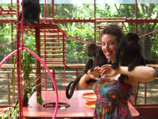 Playing with monkey rescues in Costa Rica