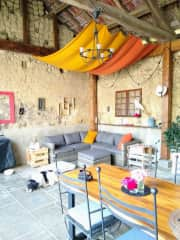 The hangar, our outdoor living space