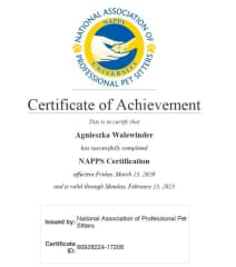My The NAPPS  (National Association of Professional Pet Sitters) Certification