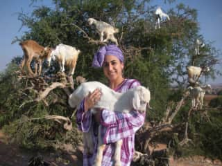 Carrying a baby goat in Morocco. Behind me is an Argan tree with  climbing goats