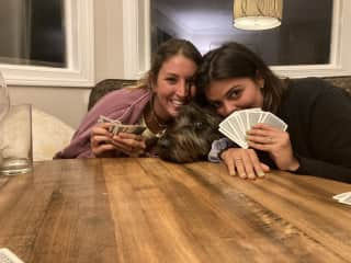 Loving on sweet bo bo while playing cards