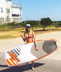 Rebecca with her stand up paddle board