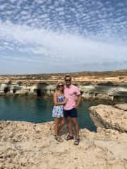 Emily and I exploring sea caves.