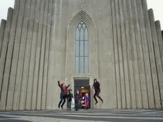 Jumping for joy in Reykjavik
