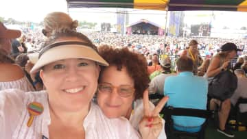 With my friend at New Orleans Jazz Fest, Big Chief tent.