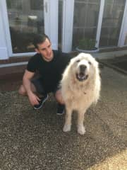 Theo, a 140 lb Great Pyrenees, and I after playing outside.