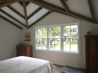 Master bedroom in House (you can see the barn out the window)