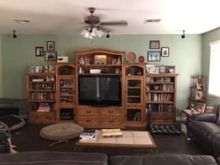 Living room - DVD player with many movies, books and games here.