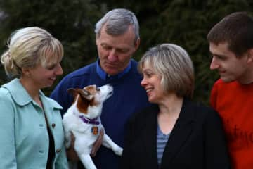 My wife and I, our two children and one of our beloved Jack Russels.  Picture from 2014