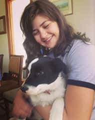 Joanna with the new farm dog, Whinni
