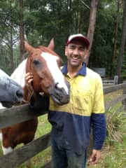 Gabriel with Phoenix and Jack, our adoptive horses