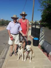 Ton, on the left,with our friend Ray and Ray's dogs Leon and Lady.