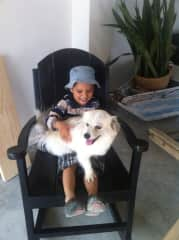 Our nephew with Prudence..two cuties
