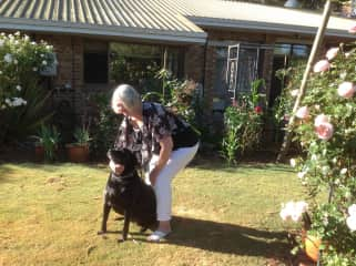 Helen in the garden with Missy