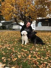 Sherri enjoying the fall colours with Teddy & Macy