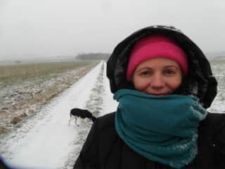 Paula and I enjoying a snowy romp in Moringen Germany