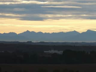 Misty view of the Pyrenees at sunrise