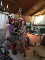 My sister & I taking a Christmas picture with our boys (who also have their own Christmas stockings)!