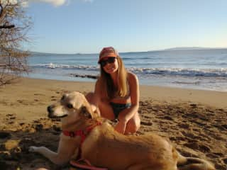 Cali loved the beach walks with Pauline