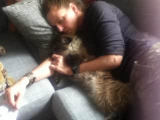 Having a lovely nap with my dear, dear Ragdoll rescue Jeremy.