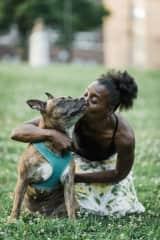 My dog Samantha, a pit bull diva, and I
