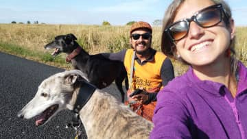 Sergio & Ana with their beloved greyhounds Bryn and Oscar in NZ