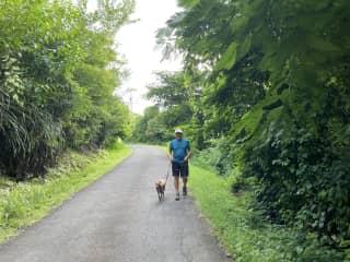 Jim walking Pickle in Grenada.