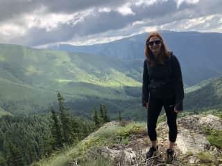 Ina in a three day mountain hike in Bulgaria
