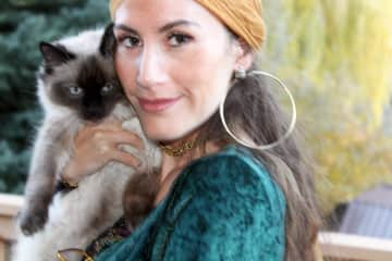 Me in a gypsy costume for Halloween, with my grandma's adorable Ragdoll cat, Kimiko,