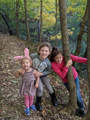 Lulu, Poppy and Solveig on a hike in our favorite park by our house.