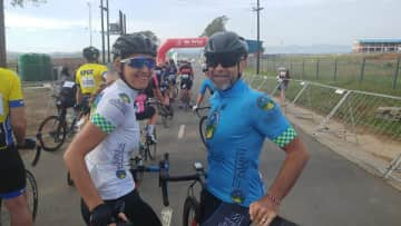 Nick and Marina take part in cycle races
