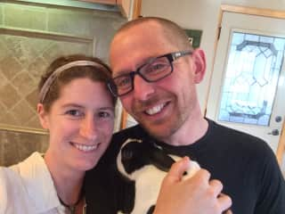This is us with our darling bun, Widget.