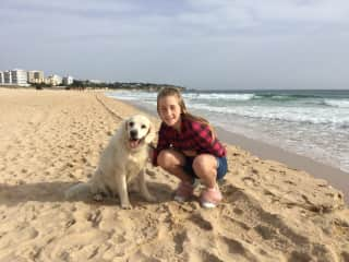 Poppy with Miri on the beach in Portugal 2018