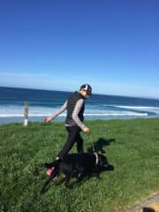 Marie walking Kaos